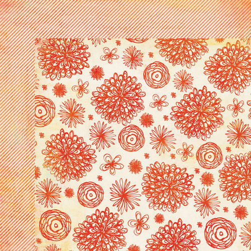 My Mind's Eye - The Sweetest Thing Collection - Tangerine - 12 x 12 Double Sided Paper - Sunshine Blossom