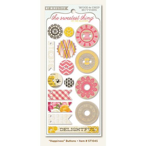 My Mind's Eye - The Sweetest Thing Collection - Honey - Decorative Buttons - Happiness
