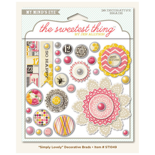 My Mind's Eye - The Sweetest Thing Collection - Honey - Decorative Brads - Simply Lovely