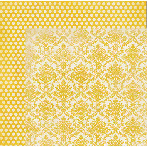 My Mind's Eye - The Sweetest Thing Collection - Honey - 12 x 12 Double Sided Paper - Simply Lovely Damask