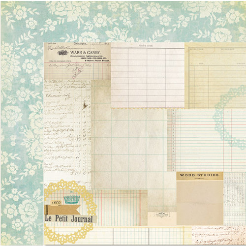 My Mind's Eye - The Sweetest Thing Collection - Bluebell - 12 x 12 Double Sided Paper - Remember Journal