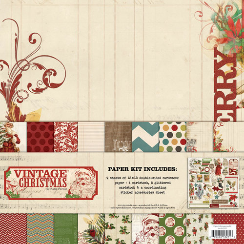 My Mind's Eye - Vintage Christmas Collection - 12 x 12 Paper Kit
