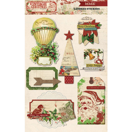 My Mind's Eye - Vintage Christmas Collection - 3 Dimensional Stickers