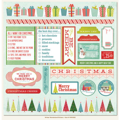 My Mind's Eye - Winter Wonderland Collection - Christmas - 12 x 12 Cardstock Stickers