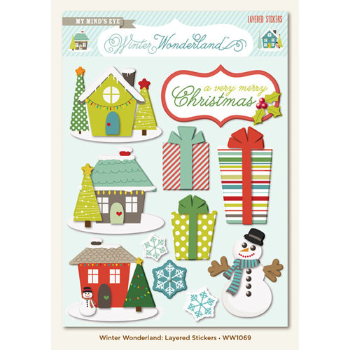 My Mind's Eye - Winter Wonderland Collection - Christmas - 3 Dimensional Stickers with Gem Accents