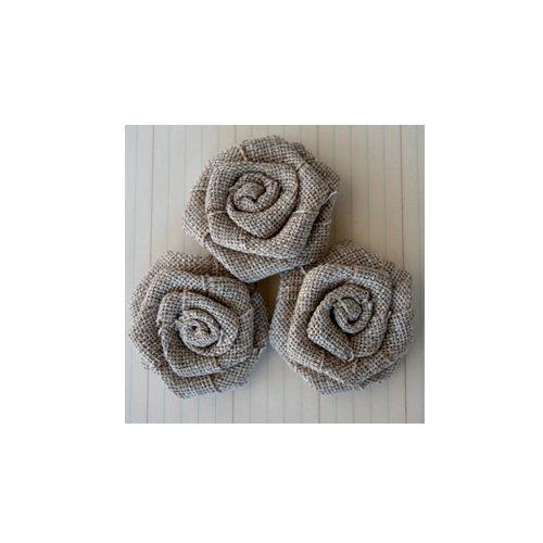 Maya Road - Vintage Linen Burlap - Roses