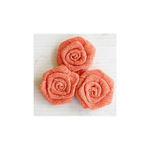 Maya Road - Vintage Linen Burlap Roses - Sunset