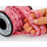 Maya Road - Trim Collection - Organza Roses Ribbon - Small - Pink - 15 Yards