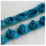 Maya Road - Trim Collection - Organza Roses Ribbon - Small - Turquoise - 1 Yard, BRAND NEW