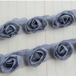 Maya Road - Trim Collection - Organza Roses Ribbon - Small - Grey - 1 Yard, BRAND NEW