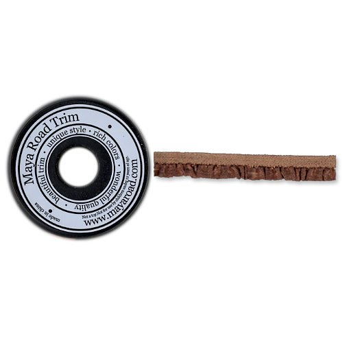 Maya Road - Trim Collection - Ruffle Edge Ribbon Spool - Brown - 25 Yards