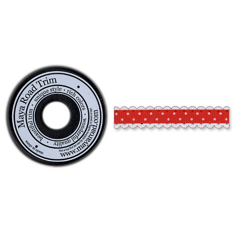 Maya Road - Trim Collection - Scallop Dot Ribbon Spool - Red - 25 Yards