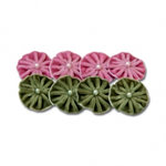 Maya Road - Trinket Blossoms Collection - Velvet Pleated Blossoms - Green and Pink, CLEARANCE