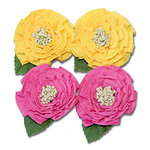 Maya Road - Trinket Blossoms Collection - Medallion Flowers - Yellow and Pink