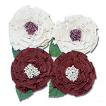 Maya Road - Trinket Blossoms Collection - Medallion Flowers - Cream and Brown, CLEARANCE