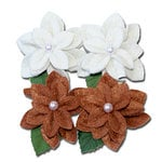 Maya Road - Trinket Blossoms Collection - Felt Pearl Flowers - Off-White and Brown, CLEARANCE