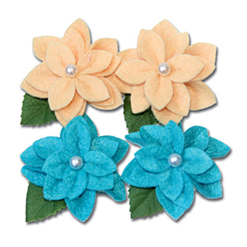 Maya Road - Trinket Blossoms Collection - Felt Pearl Flowers - Yellow and Turquoise, CLEARANCE