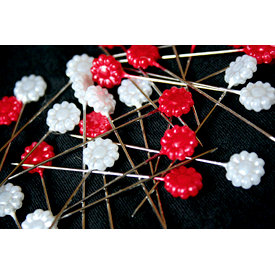 Maya Road - Trinket Pins Collection - Flowers - Red and White Pearl, CLEARANCE