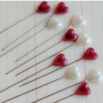Maya Road - Trinket Pins Collection - Cream and Red Hearts
