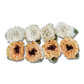 Maya Road - Trinket Blossoms Collection - Ruffle Flowers - Cream and Golden Yellow