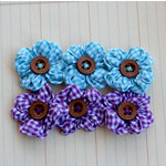 Maya Road - Trinket Blossoms Collection - Country Gingham Posies - Blue and Purple, CLEARANCE