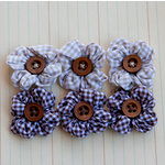 Maya Road - Trinket Blossoms Collection - Country Gingham Posies - Brown and Beige, CLEARANCE