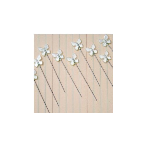 Maya Road - Vintage Trinket Pins - Pearl Butterfly