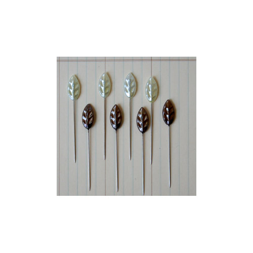 Maya Road - Vintage Trinket Pins - Leaf - Pearl - Cream and Brown