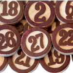 Maya Road - Wood Pieces - Bingo Calendar Numbers - Brown, CLEARANCE