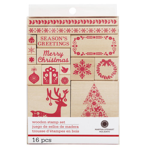 Martha Stewart Crafts - Christmas - Wood Mounted Stamp Set - Scandinavian