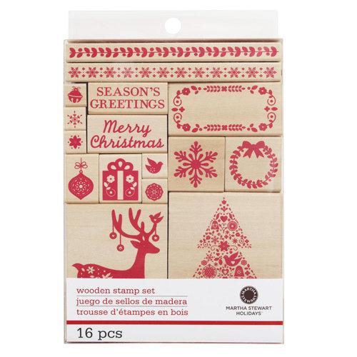 Martha Stewart Crafts - Christmas - Wood Mounted Stamp Set - Scandinavian