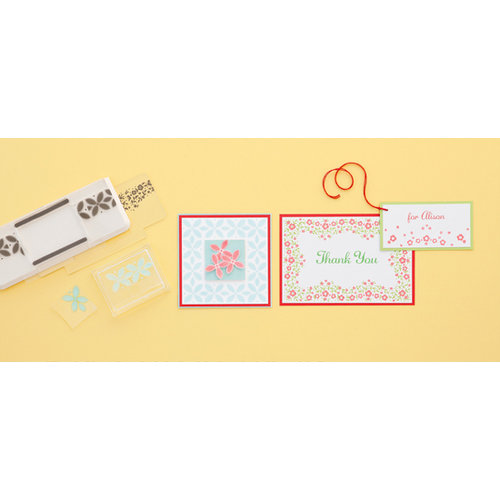 Martha Stewart Crafts - Stitched Collection - Stamp Around the Page - Clear Acrylic Stamps - Bandana and Geo Flower