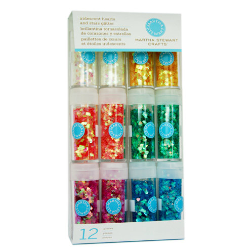 Martha Stewart Crafts - Shaped Glitter Embellishment Variety - 12 Piece Set - Iridescent Hearts and Stars