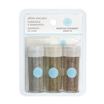 Martha Stewart Crafts - Fine Glitter Embellishment Variety - 3 Piece Set with Glue - Desert