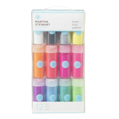 Martha Stewart Crafts - Neon Glitter Embellishment Variety - 12 Piece Set