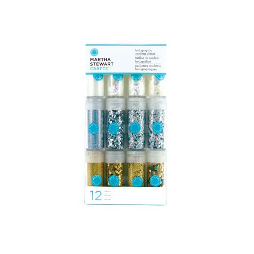 Martha Stewart Crafts - Holographic Confetti Glitter Embellishment Variety - 12 Piece Set - Whites and Metallics