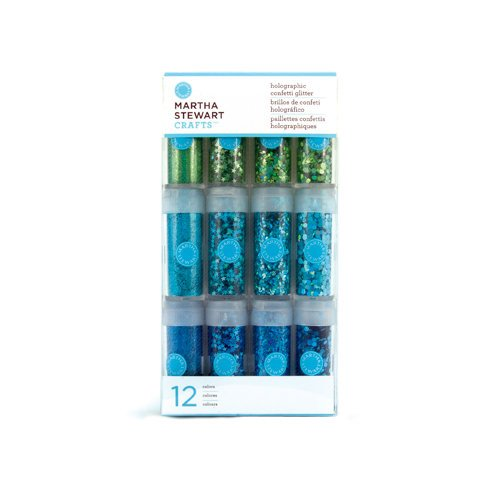 Martha Stewart Crafts - Holographic Confetti Glitter Embellishment Variety - 12 Piece Set - Blues