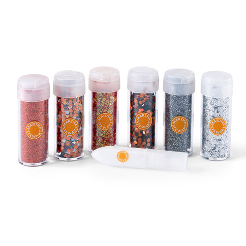 Martha Stewart Crafts - Halloween Collection - Glitter Embellishment Variety - 6 Piece Set with Glue - Carnival