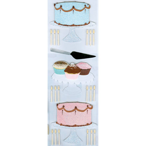 Martha Stewart Crafts - 3 Dimensional Glittered Stickers - Cake Baking