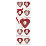Martha Stewart Crafts - Valentine - 3 Dimensional Stickers with Glitter Accents - Heart and Key