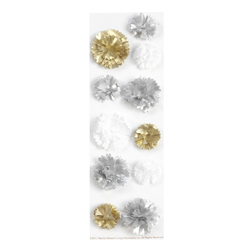 Martha Stewart Crafts - Doily Lace Collection - 3 Dimensional Layered Stickers - Silver and Gold Pom Pom
