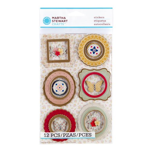 Martha Stewart Crafts - Vintage Collection - 3 Dimensional Stickers with Foil and Gem Accents - Heirloom Frame and Icon