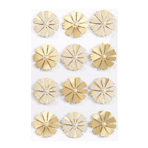 Martha Stewart Crafts - 3 Dimensional Stickers with Foil Accents - Elegant Nature Asters