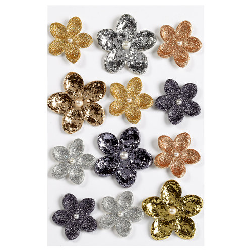 Martha Stewart Crafts - 3 Dimensional Stickers with Glitter Accents - Elegant Nature Flowers