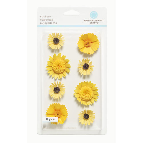 Martha Stewart Crafts - 3 Dimensional Stickers - Yellow Flowers