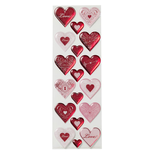 Martha Stewart Crafts - Valentine - Epoxy Stickers with Foil and Glitter Accents - Hearts