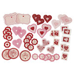 Martha Stewart Crafts - Valentine - Self Adhesive Die Cuts with Foil and Glitter Accents - Heart and Key