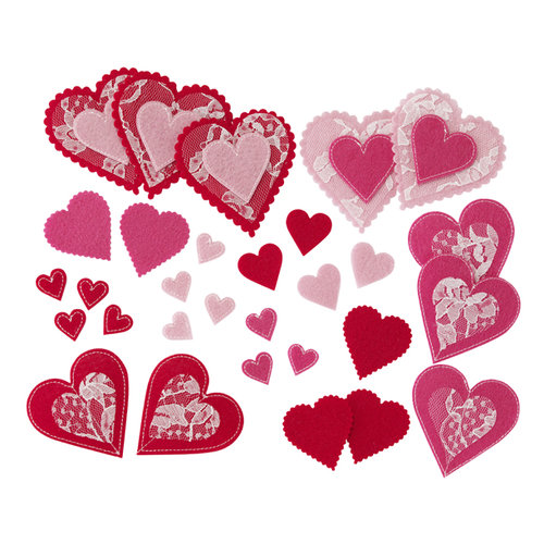 Martha Stewart Crafts - Valentine - Felt Die Cut Pieces with Lace Accents - Hearts