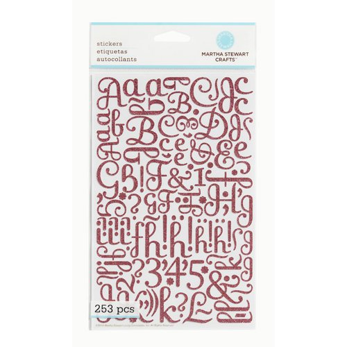 Martha Stewart Crafts - Glitter Stickers - Large Alphabet - Pink