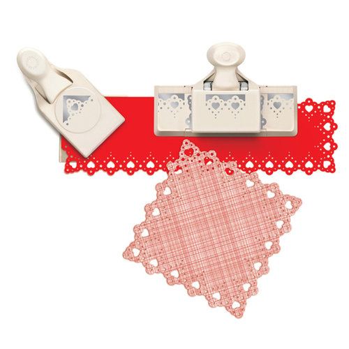 Martha Stewart Crafts - Valentine's Day Collection - Punch Around the Page - Large - Craft Punch Set - Vintage Heart Lace